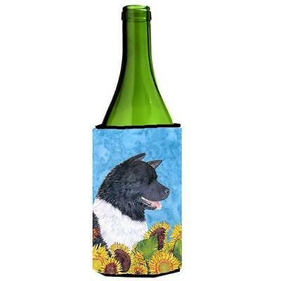 Carolines Treasures Akita In Summer Flowers Wine bottle sleeve Hugger 24 oz.