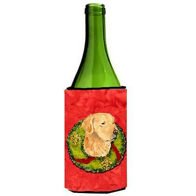 Golden Retriever Christmas Wreath Wine bottle sleeve Hugger 24 oz.