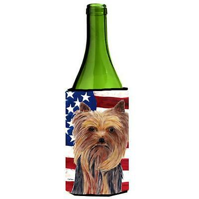 Usa American Flag With Yorkie Wine bottle sleeve Hugger 24 oz.