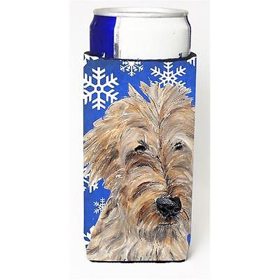 Goldendoodle Blue Snowflake Winter Michelob Ultra bottle sleeves For Slim Can...