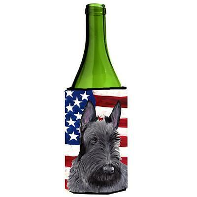 Usa American Flag With Scottish Terrier Wine bottle sleeve Hugger 24 oz.
