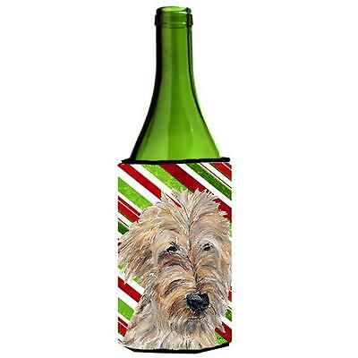 Goldendoodle Candy Cane Christmas Wine bottle sleeve Hugger 24 oz.