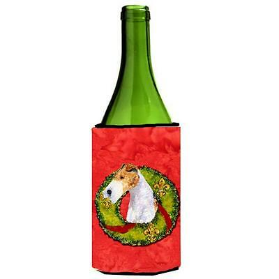 Fox Terrier Christmas Wreath Wine bottle sleeve Hugger 24 oz.