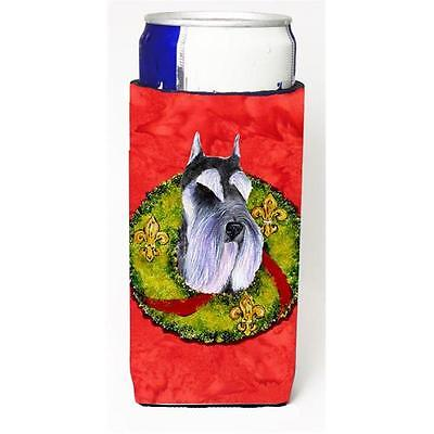 Schnauzer Christmas Wreath Michelob Ultra bottle sleeves For Slim Cans 12 oz.