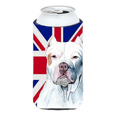 Pit Bull With English Union Jack British Flag Tall Boy bottle sleeve Hugger 2...