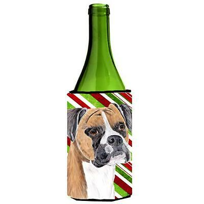 Boxer Candy Cane Holiday Christmas Wine bottle sleeve Hugger 24 oz.