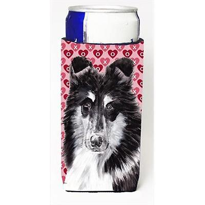 Black And White Collie Hearts And Love Michelob Ultra bottle sleeves Slim Can...