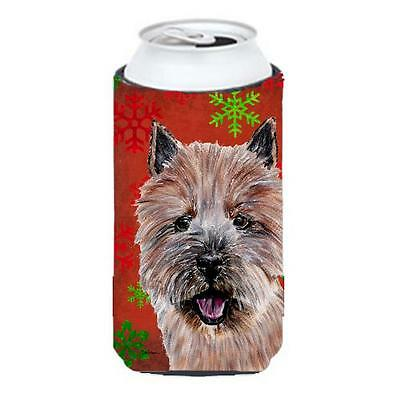 Norwich Terrier Red Snowflakes Holiday Tall Boy bottle sleeve Hugger 22 To 24...