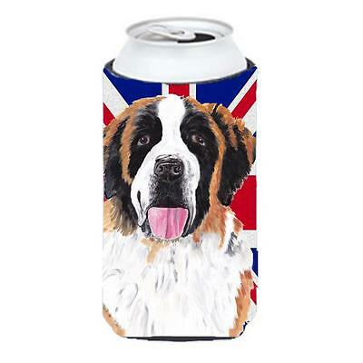 Saint Bernard With English Union Jack British Flag Tall Boy bottle sleeve Hug...