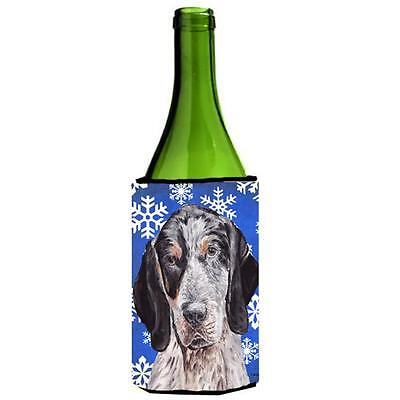 Blue Tick Coonhound Winter Snowflakes Wine bottle sleeve Hugger 24 Oz.