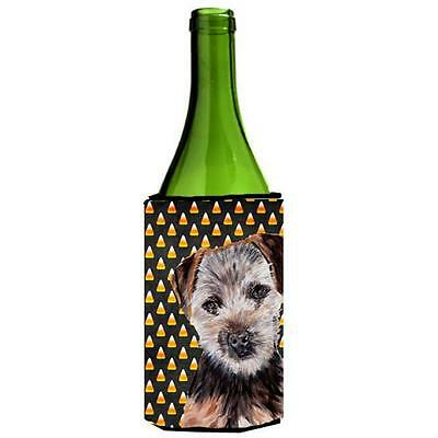 Norfolk Terrier Puppy Candy Corn Halloween Wine bottle sleeve Hugger 24 Oz.
