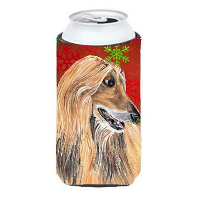 Afghan Hound Red Snowflakes Holiday Christmas Tall Boy bottle sleeve Hugger 2...