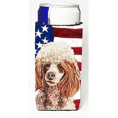 Red Miniature Poodle With American Flag USA Michelob Ultra bottle sleeves For...