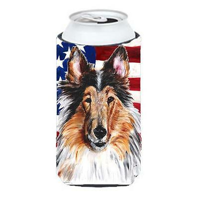Collie With American Flag Usa Tall Boy bottle sleeve Hugger 22 To 24 Oz.