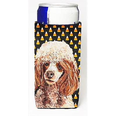Red Miniature Poodle Candy Corn Halloween Michelob Ultra bottle sleeves Slim ...