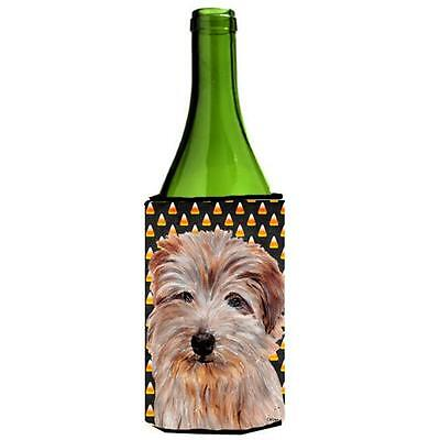 Norfolk Terrier Candy Corn Halloween Wine bottle sleeve Hugger 24 Oz.