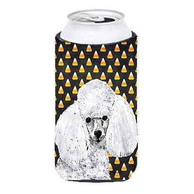 White Toy Poodle Candy Corn Halloween Tall Boy bottle sleeve Hugger 22 To 24 Oz.
