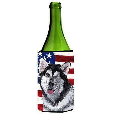 Alaskan Malamute USA Patriotic American Flag Wine bottle sleeve Hugger 24 Oz.