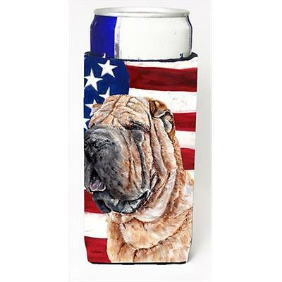 Shar Pei With American Flag Usa Michelob Ultra bottle sleeves Slim Cans 12 Oz.