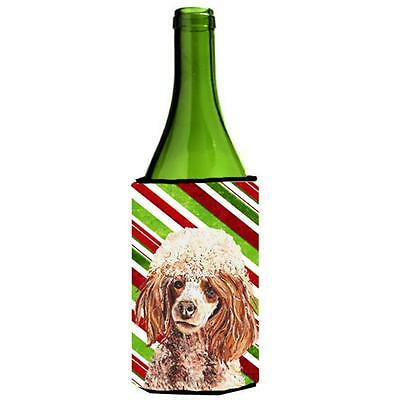 Red Miniature Poodle Candy Cane Christmas Wine bottle sleeve Hugger 24 Oz.