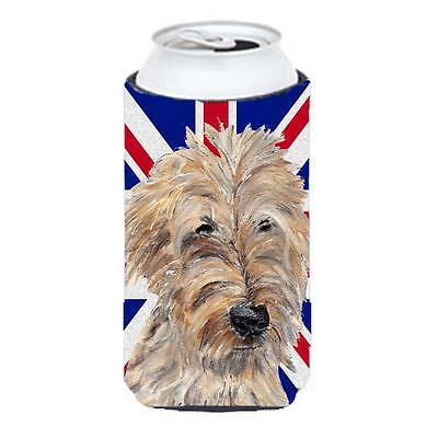 Golden Doodle With English Union Jack British Flag Tall Boy bottle sleeve Hug...