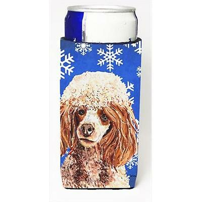 Red Miniature Poodle Winter Snowflakes Michelob Ultra bottle sleeves Slim Can...