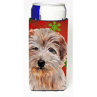 Norfolk Terrier Red Snowflakes Holiday Michelob Ultra bottle sleeves Slim Can...