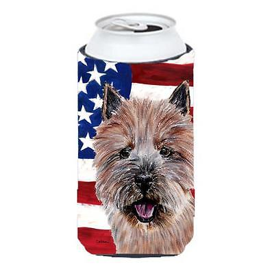 Norwich Terrier With American Flag Usa Tall Boy bottle sleeve Hugger 22 To 24...