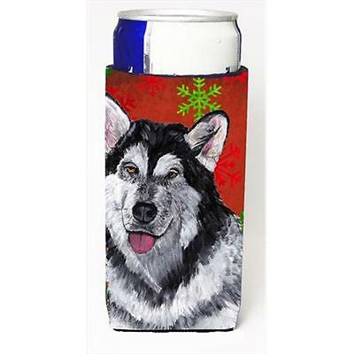 Alaskan Malamute Red Snowflakes Holiday Christmas Michelob Ultra bottle sleev...