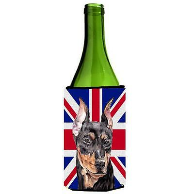 German Pinscher With English Union Jack British Flag Wine bottle sleeve Hugge...