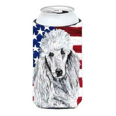 White Standard Poodle With American Flag Usa Tall Boy bottle sleeve Hugger 22...