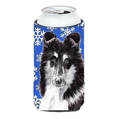 Black And White Collie Winter Snowflakes Tall Boy bottle sleeve Hugger 22 To ...