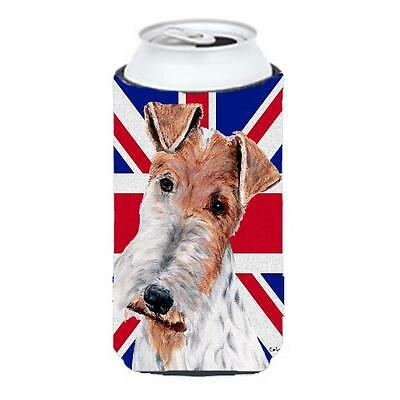Wire Fox Terrier With English Union Jack British Flag Tall Boy bottle sleeve ...