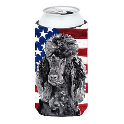 Black Standard Poodle With American Flag Usa Tall Boy bottle sleeve Hugger 22...