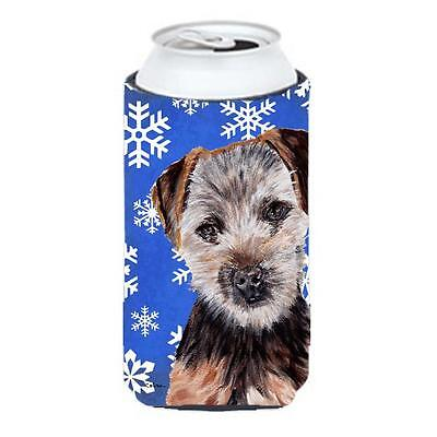 Norfolk Terrier Puppy Winter Snowflakes Tall Boy bottle sleeve Hugger 22 To 2...