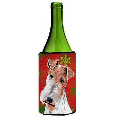 Wire Fox Terrier Red Snowflakes Holiday Wine bottle sleeve Hugger 24 Oz.