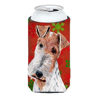 Wire Fox Terrier Red Snowflakes Holiday Tall Boy bottle sleeve Hugger 22 To 2...