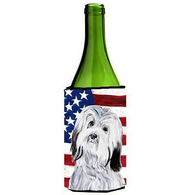 Havanese With American Flag Usa Wine bottle sleeve Hugger 24 Oz.