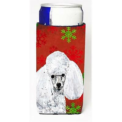 White Toy Poodle Red Snowflakes Holiday Michelob Ultra bottle sleeves Slim Ca...