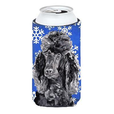 Black Standard Poodle Winter Snowflakes Tall Boy bottle sleeve Hugger 22 To 2... • AUD 47.47