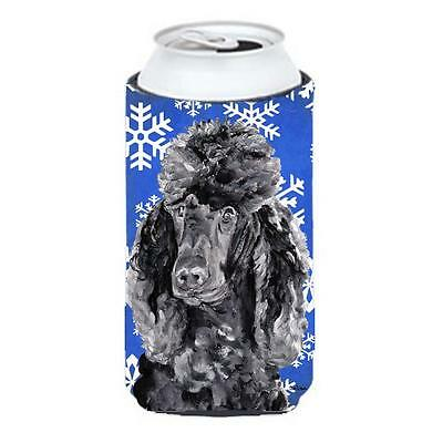 Black Standard Poodle Winter Snowflakes Tall Boy bottle sleeve Hugger 22 To 2...