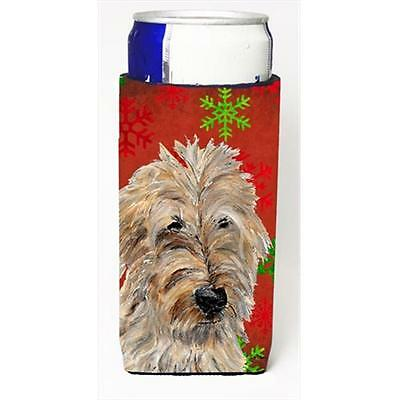 Golden Doodle 2 Red Snowflakes Holiday Michelob Ultra bottle sleeves Slim Can...