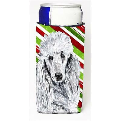 White Standard Poodle Candy Cane Christmas Michelob Ultra bottle sleeves Slim...