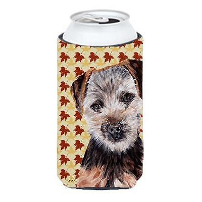 Norfolk Terrier Puppy Fall Leaves Tall Boy bottle sleeve Hugger 22 To 24 Oz.