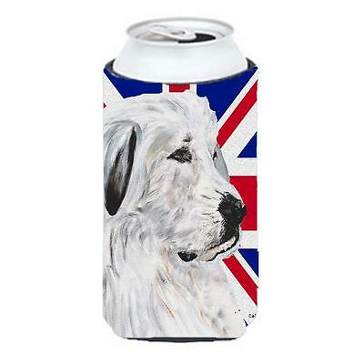 Great Pyrenees With English Union Jack British Flag Tall Boy bottle sleeve Hu...