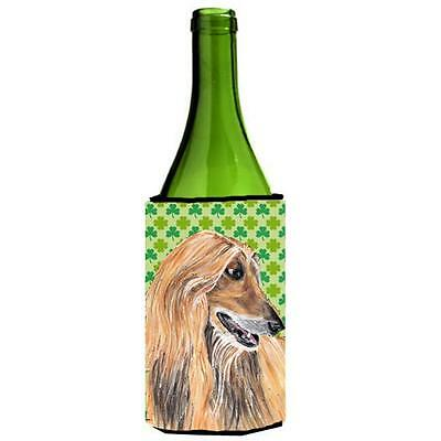Afghan Hound St. Patricks Day Shamrock Wine bottle sleeve Hugger 24 Oz.