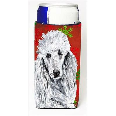 White Standard Poodle Red Snowflakes Holiday Michelob Ultra bottle sleeves Sl...