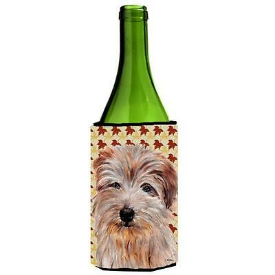 Carolines Treasures Norfolk Terrier Fall Leaves Wine bottle sleeve Hugger 24 Oz.