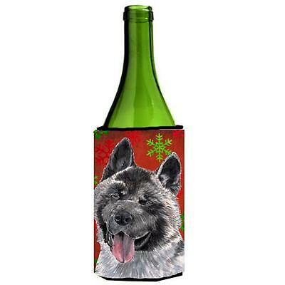 Akita Red Snowflakes Holiday Christmas Wine bottle sleeve Hugger 24 Oz.
