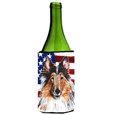 Collie With American Flag Usa Wine bottle sleeve Hugger 24 Oz.